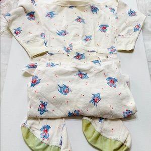 Vintage Atomic Rocket Pajamas Snaps Footed